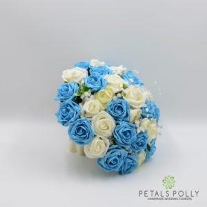Aqua turquoise silk brides bouquet