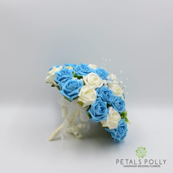 Aqua Blue / Turquoise & Ivory Rose Bridesmaids Posy with Ranunculus