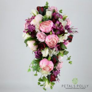 plum pink burgundy shower bouquet
