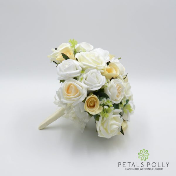 Champagne, Ivory & White Rose Brides Posy