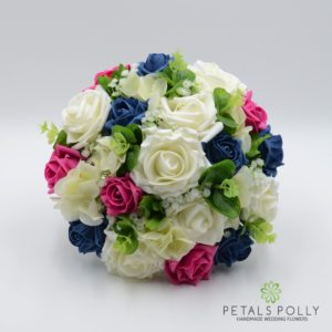 Hot Pink, Teal & Ivory Rose Brides Posy with Hydrangea & Eucalyptus