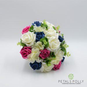 teal pink artificial brides bouquet