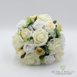 champagne white silk bridesmaids bouquet