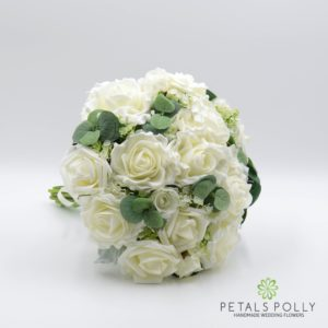 ivory cream silk brides bouquet eucalyptus