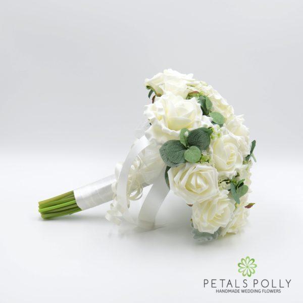 Cream / Ivory Rose Brides Posy with Eucalyptus