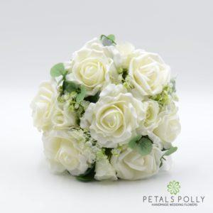 Cream / Ivory Rose Bridesmaids Posy with Eucalyptus