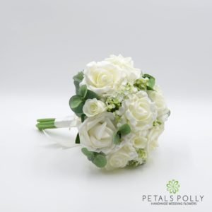 ivory cream silk rose bridesmaids bouquet