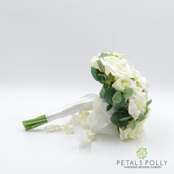 Cream / Ivory Rose Bridesmaids Posy with Eucalyptus