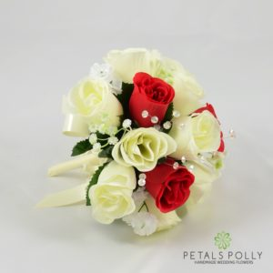 red ivory bridesmaids bouquet