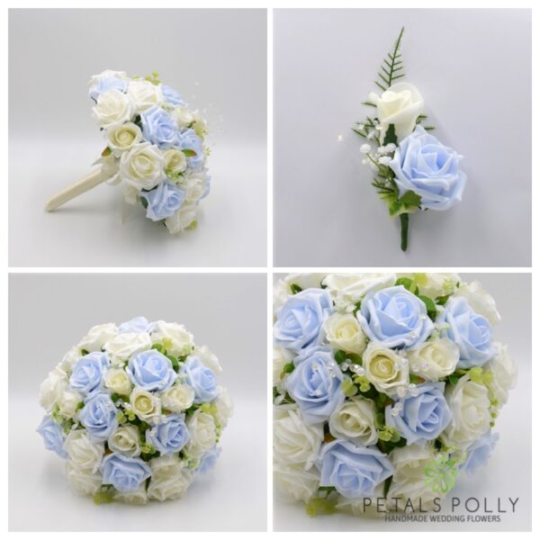 Baby Blue & Ivory Rose Package