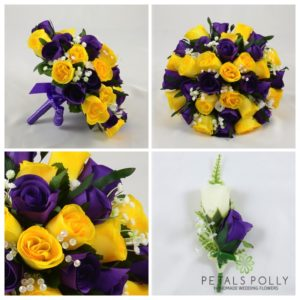 purple yellow wedding flowers package