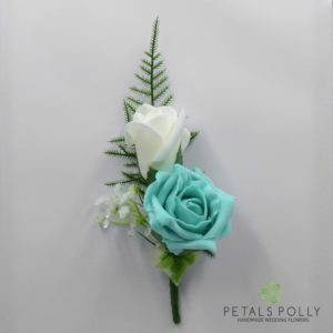 tiffany blue double rose buttonhole