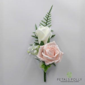 mocha pink double rose buttonhole
