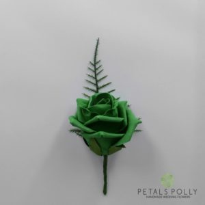 Emerald green foam rose buttonhole