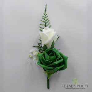 emerald green double rose buttonhole