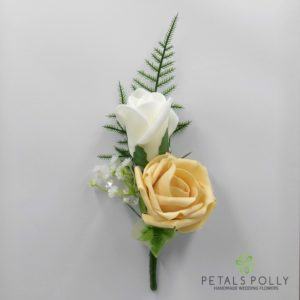 gold double rose buttonhole