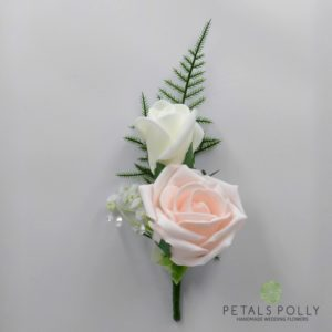 blush pink double rose buttonhole