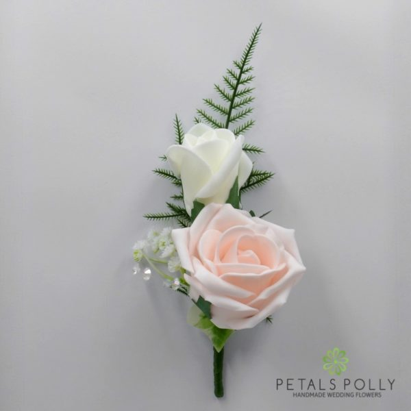 Emerald Green & Ivory Double Foam Rose Buttonhole