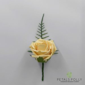 gold foam rose buttonhole