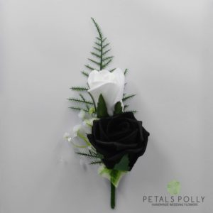 black white double rose buttonhole