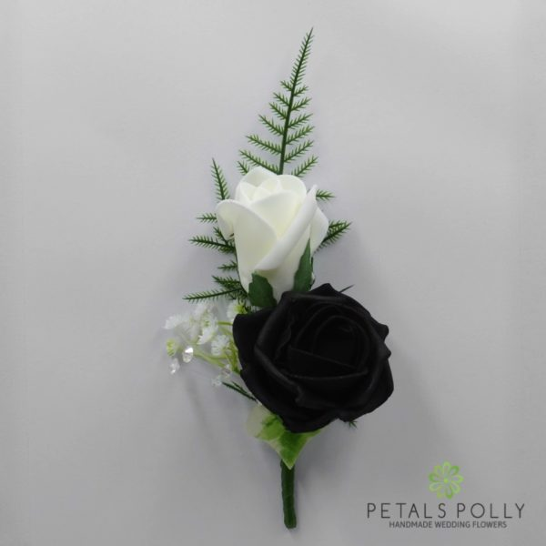 Emerald Green & Ivory Double Foam Rose Buttonhole