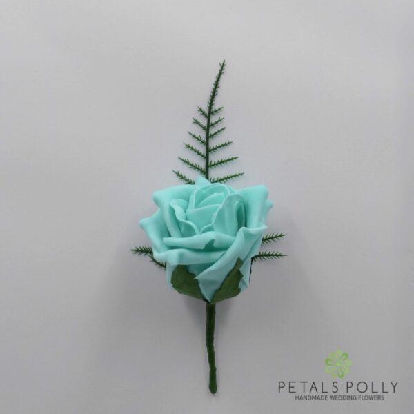 Tiffany Blue Single Foam Rose Buttonhole