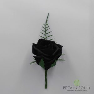 black foam rose buttonhole
