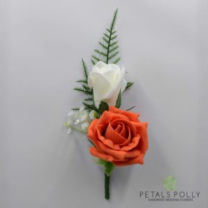 orange double rose buttonhole