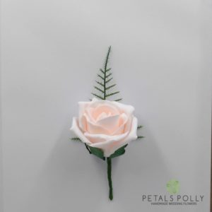 blush pink foam rose buttonhole
