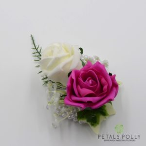 hot pink rose wrist corsage