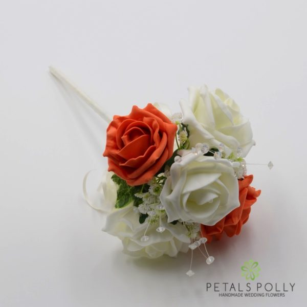 Cappuccino & Ivory Foam Rose Flower Girl Wand with Crystal Stems