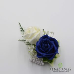 navy blue rose wrist corsage
