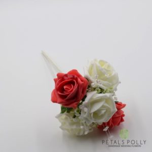 coral flower girl wand