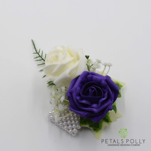 Hot Pink & Ivory Foam Rose Wrist Corsage with Crystals, Ivy and Greenery