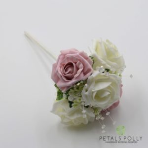 antique pink flower girl wand