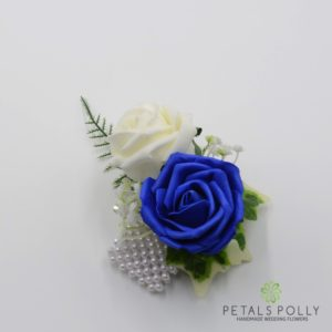royal blue rose wrist corsage
