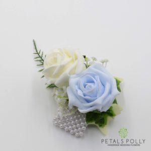 baby blue wrist corsage