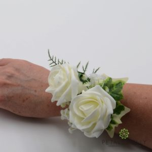 antique pink wrist corsage