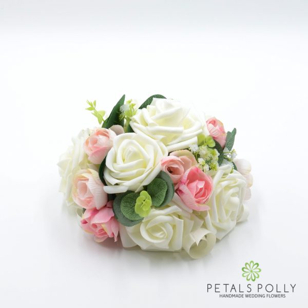 Pastel Pink Peony & Ivory Rose Cake Topper Decoration