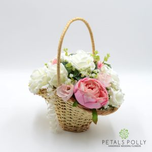 peony rose flower girl basket