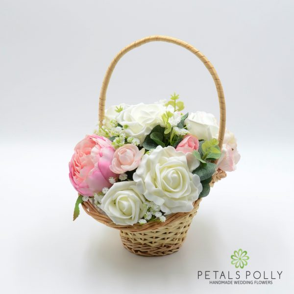 Pastel Pink Peony & Ivory Rose Flower Girl Basket