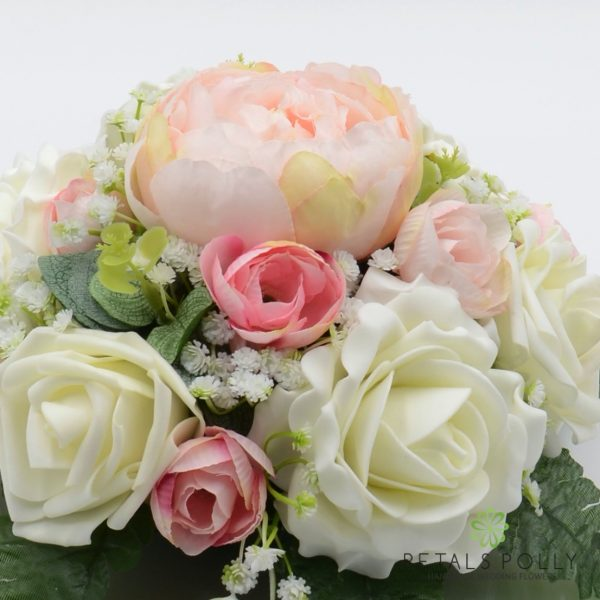 Pastel Pink Peony & Ivory Rose Table Centre Decoration