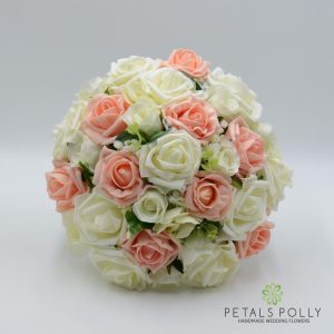 Peach & Ivory Rose Brides Posy with Eucalyptus