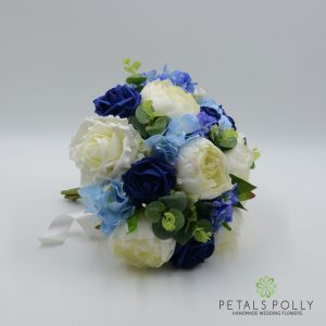 blue silk brides bouquet