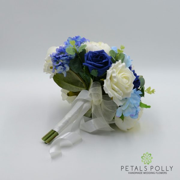 Navy Blue, Baby Blue & Ivory Brides Posy with Hydrangea & Eucalyptus