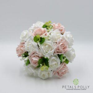 white mocha foam roses