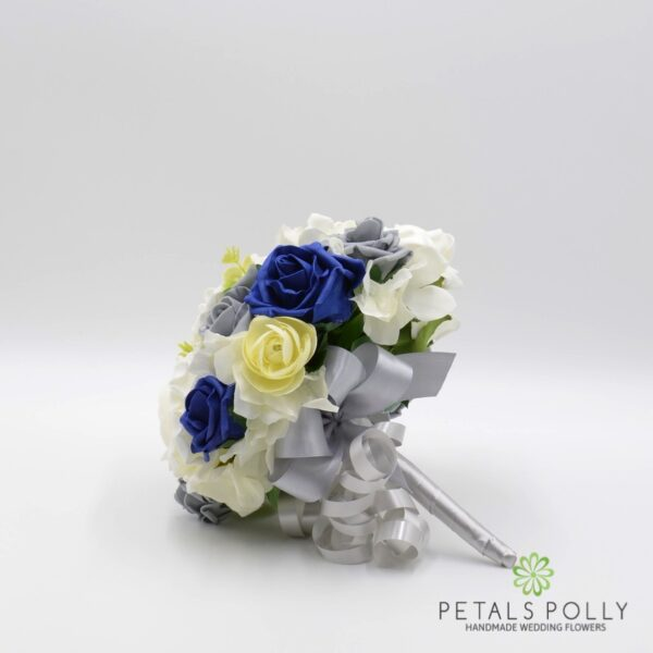 Grey, Navy Blue & Ivory Rose with Hydrangea & Eucalyptus Package