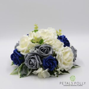 navy grey table centre flowers
