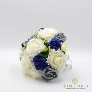grey navy bridesmaids bouquet