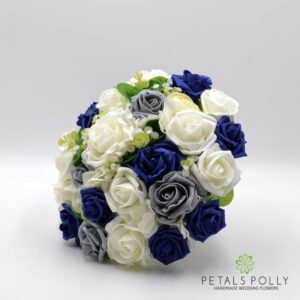 navy grey brides bouquet